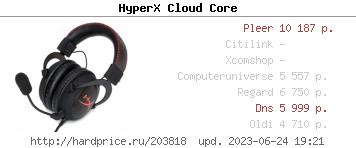 Сравнить цены на гарнитуру HyperX Cloud Core (KHX-HSCC-BK-BR)